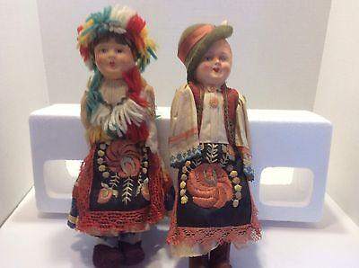 Vintage Male And Female Austrian Dancing Dolls 1965  Original costumes