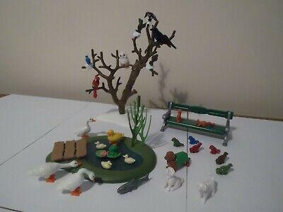 PLAYMOBIL JOB LOT OF BIRDS,DUCKS,SQUIRREL,DOGS, FROG, FISH,TREE, POND & BENCH.