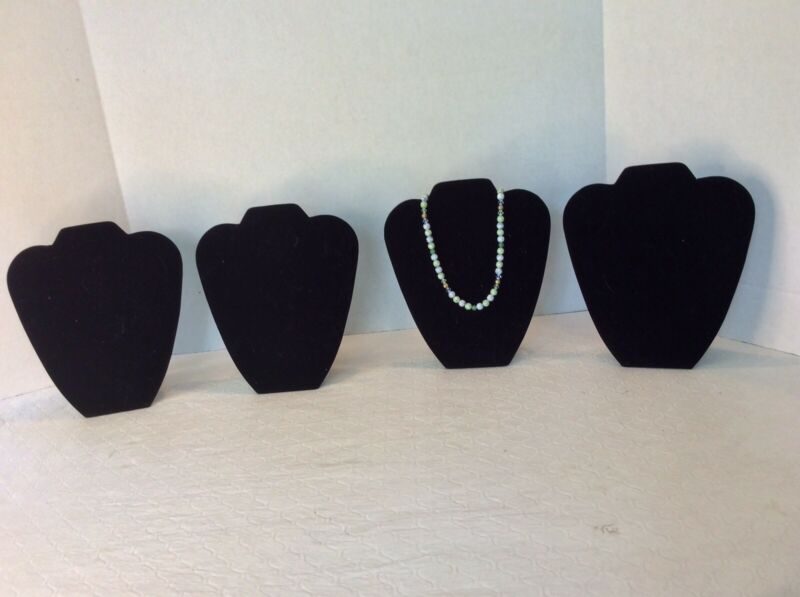 """Jewelry Stands, Black, Lot Of 4, 8 1/2"""", Necklace"""