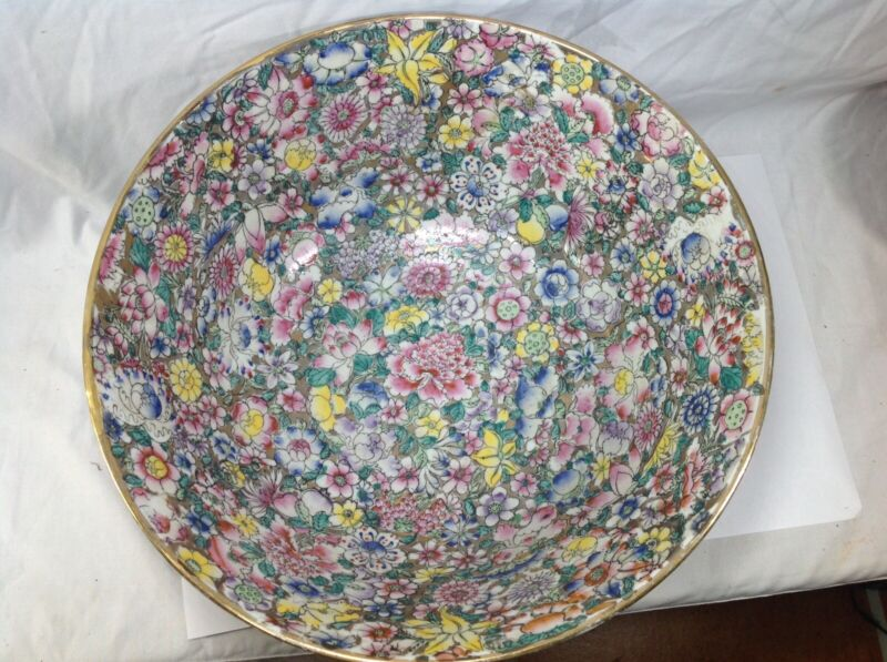 19/20 Th Chinese milefluers Famille Rose punch Bowl