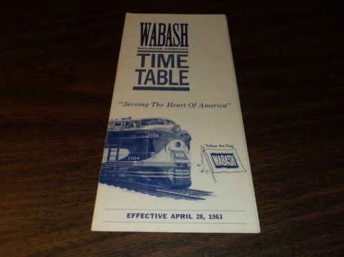 APRIL 1963 WABASH RAILROAD SYSTEM PUBLIC TIMETABLE