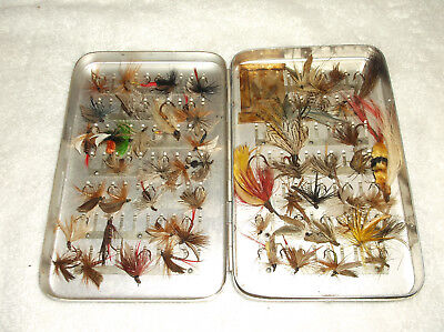 Vintage Perrine Sterling Quality Fly Fishing Box Case With Over 50 Flies