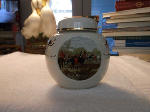 Vintage Twining Tea Canister Caddy Hunting Scenes Burgess & Leigh Excellent