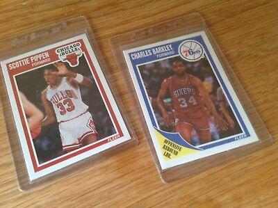 Vintage Fleer 1989 NBA Basketball Trading Cards Scottie Pippin & Charles Barkley