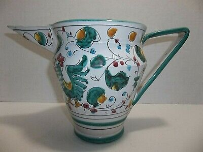 - Vintage Dereuta Italian Faience Majolica Pitcher ROOSTER 6.25
