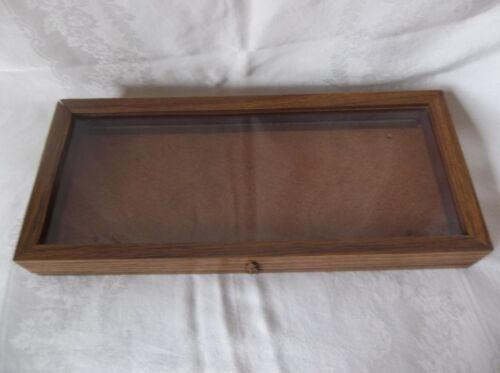"""Oak Wood Display Case 20"""" x 8 3/4"""" x 2 1/4"""" Arrowheads Knives Collectibles Coins"""
