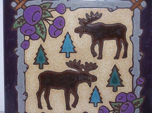 """Vintage Enameled Art Tile Trivet MOOSE 6"""""""