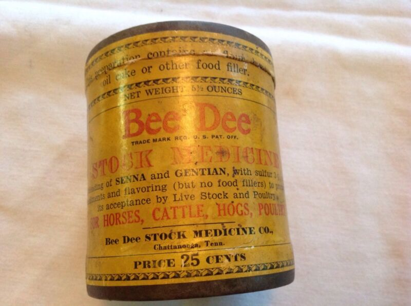 Bee Dee Stock Medicine Container, Chattanooga, Tn. 1920