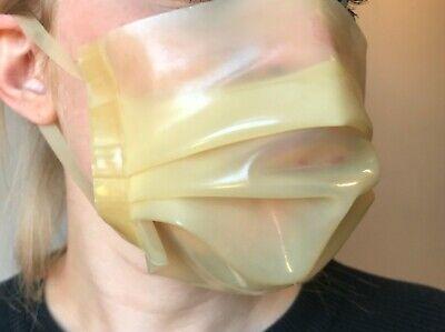 Latex Rubber Face Mask - Natural Transparent - Fancy Dress Fetish 0.5mm Hood