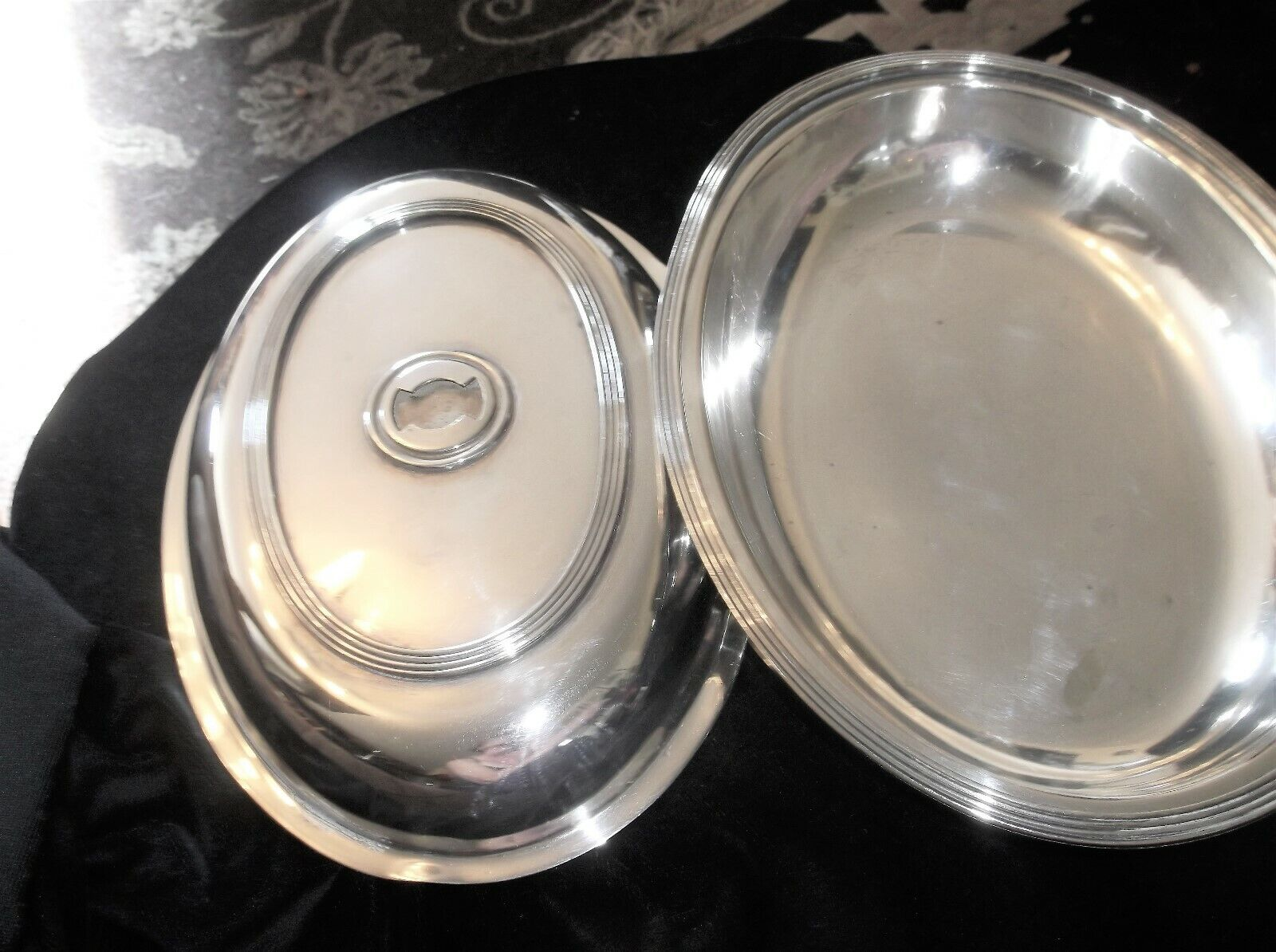 ANTIQUE SILVER PLATED OVAL DISH & LID MARTIN HALL REMOVEABLE HANDLE MISSING