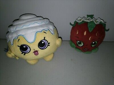 Lot of 2 Shopkins Strawberry Kiss Plush Stuffed Toy Red Yellow