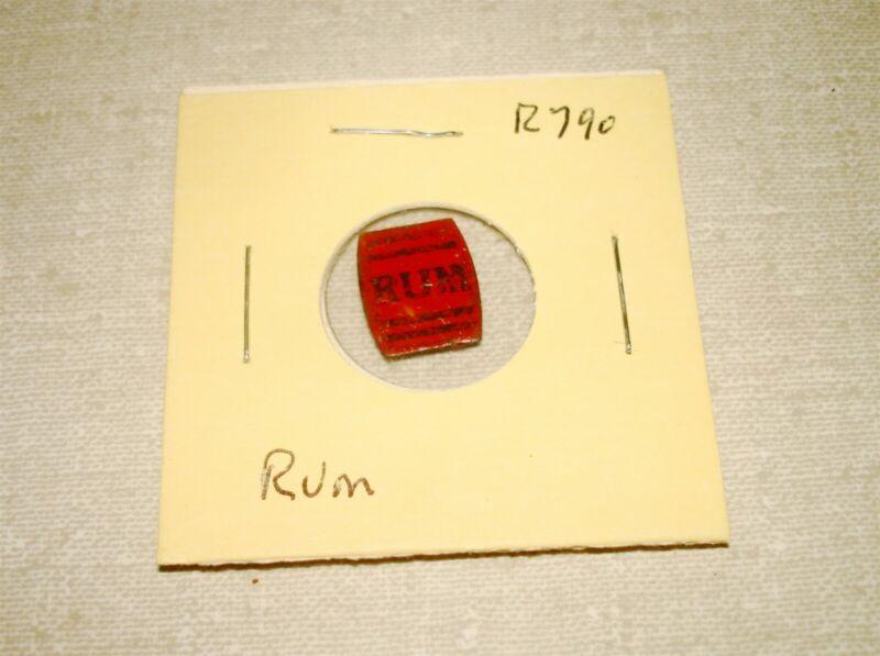 RUM - Die-Cut Barrel - R790 - Plug Chewing Tobacco Tin Tag w Tic
