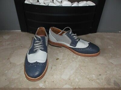 H By Hudson Navy Cream Grey Leather Oxfords Flat Lace Up Brogues Size EU 37 UK 4