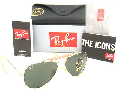 Authentic Ray-Ban Outdoorsman Gold Frame Green Classic G-15 RB 3030 L0216 (Ray Ban Green Frames)