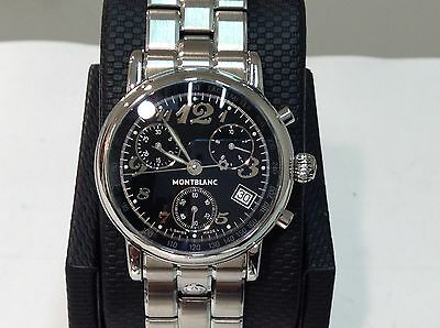 MONTBLANC Ref. 7038 MEISTERSTUCK S/Steel 36mm Black Dial Chronograph! SUPERB!