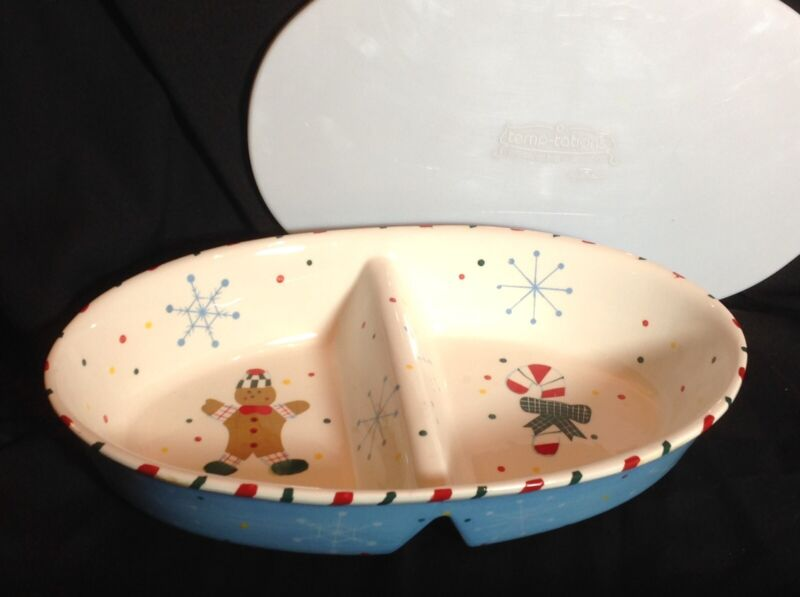 "Casserole DIsh divided Lid Holiday 14""x2-1/2x8-1/2"" TARA - TEMPTATIONS"