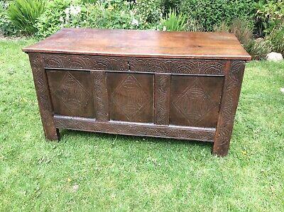 Large Antique Oak Carved Coffer