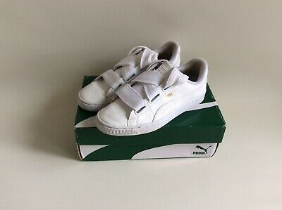 Puma Basket Heart Trainers Uk Size 5 Shiny Puma White With Box Ex Condition