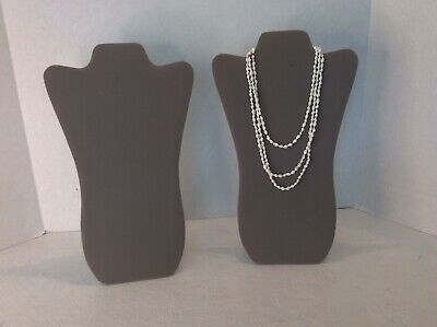 Jewelry Stands Necklace Gray Velvet Lot Of 2 14.25