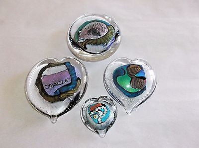 Collection of Randy Strong Dichroic Art Glass Paperweights, signed/unsigned EC