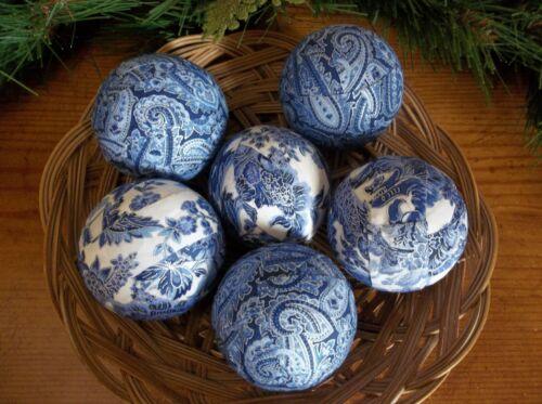 6 Blue & White Paisley Rag Balls, Farmhouse Bowl, Basket, Jar Fillers, New