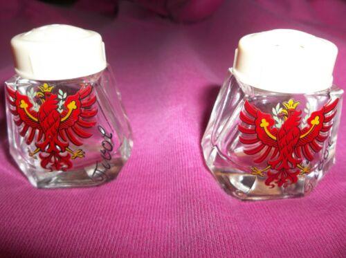 "Vintage Salt & Pepper Shakers Glass Hand Painted Austria national symbol ""tirol"""