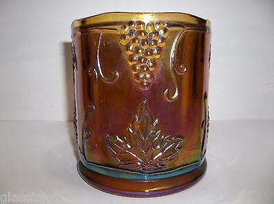 """Vintage Carnival Glass IRIDESCENT Amber TOBACCO Jar VASE PLANTER GRAPES 4.75"""""""