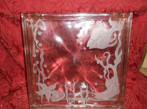 """Vintage Frank Oda Hawaii (?)  Etched Glass 12"""" Block Vase Ocean Fish Design"""