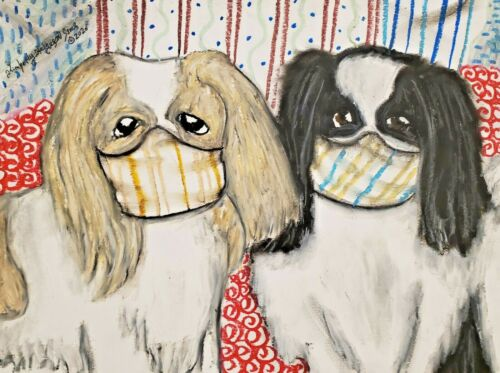 13 x 19 Dog Art Print Japanese Chin Collectible Signed by Artist KSams Steampunk