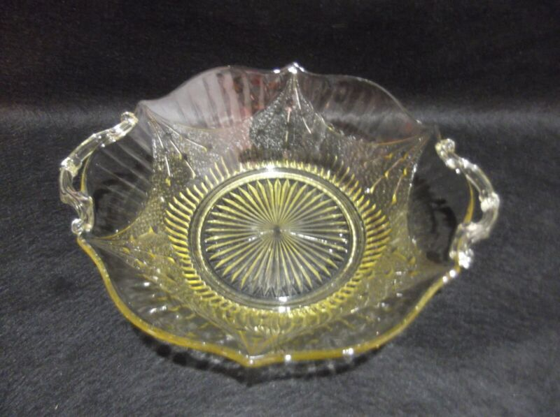 Vintage Lancaster Yellow Depression Glass Serving Bowl