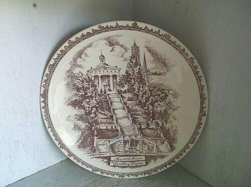 "MONUMENT TERRACE Lynchburg Virginia Vernon Kilns Collector Plate 10 3/8"" Red VA"