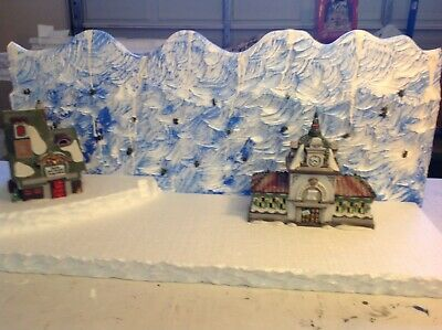 christmas village Backdrop Mountain For Lemax , Dept56 North Pole Dickens Set Up ()