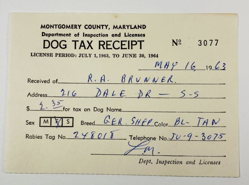 Vtg 1963 Dog Tax Receipt Montgomery County Maryland German Shepherd Ephemera