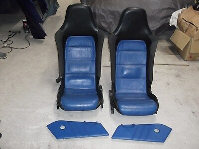 VX220 Vauxhall Opel SPEEDSTER Pair of Black & Blue Leather Seats with door cards