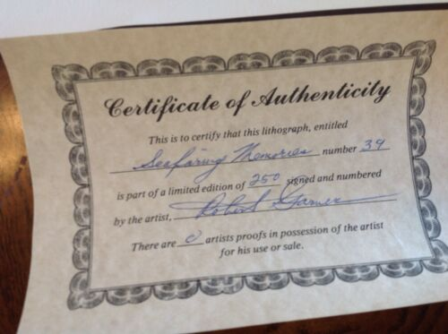 VINTAGE LITHOGRAPH ENTITLED SEAFARING MEMORIES SIGNED BY ROBERT GARNER RARE  - $300.00
