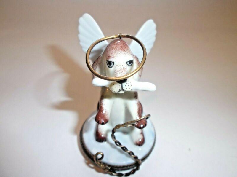 Peint Main Limoges Trinket-Angelic Dog