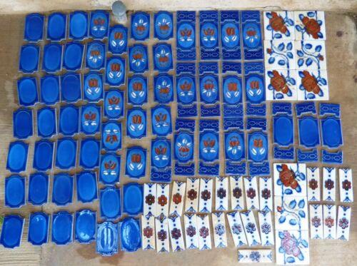 Vtg Cobalt Blue Ceramic Tile Lrg Lot Floral Square Border Mexico Used White Rust