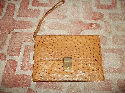 (Vintage Mark Cross Germany Ostrich tan leather envelope locking clutch bag purse)