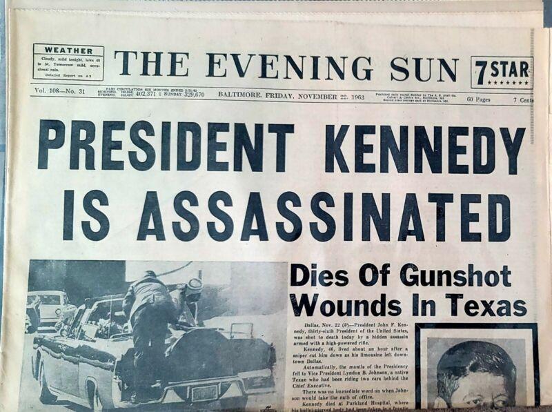 JOHN F KENNEDY JFK ASSASSINATION NEWSPAPER BALTIMORE SUN 11/22/1961 ORIGINAL