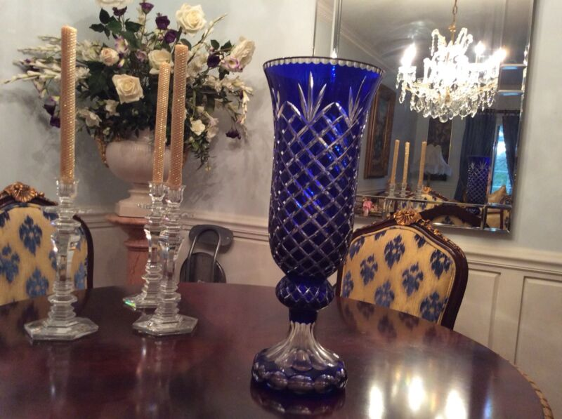 LARGE 21in DIAMOND CUT CRYSTAL VASE COBALT BLUE TO CLEAR TRULY MAGNIFICENT LOOK