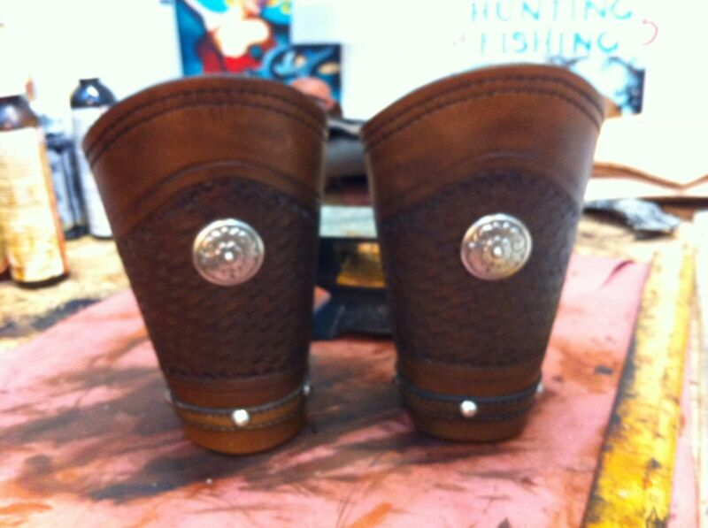 Classic Cowboy Roping Cuffs Hand Tooled Leather