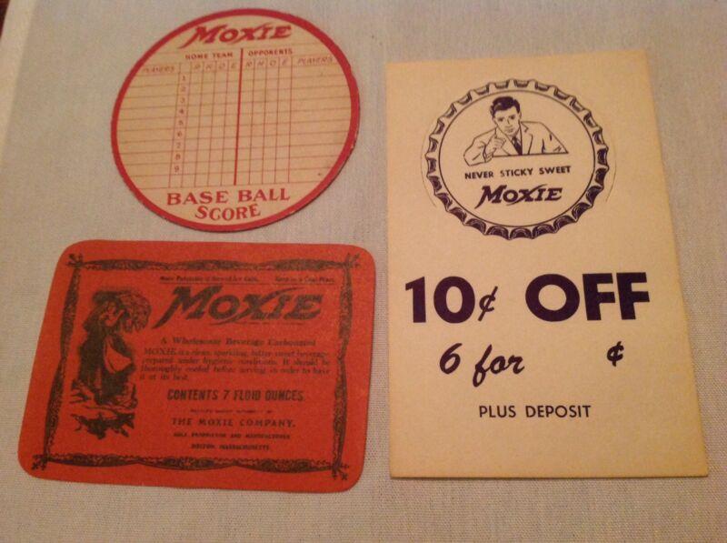 3 Different Vintage Moxie Soda Pieces