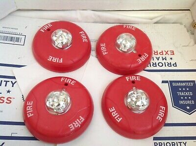 Lot Of 4 System Sensor Scr Fire Alarm Ceiling Strobe W Mount Plate