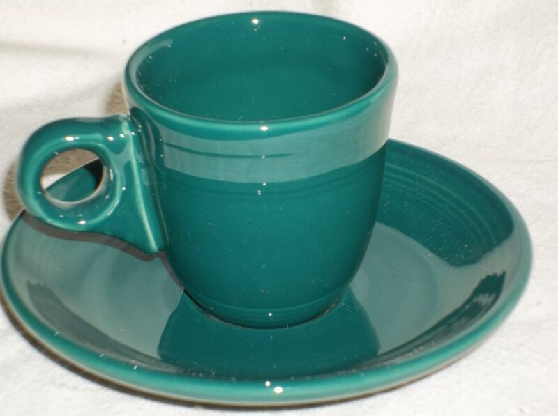 "Fiesta DEMITASSE AD CUP & SAUCER - 1st.-  2 3/8"" - 2 1/2 Ozs. Retired EVERGREEN"