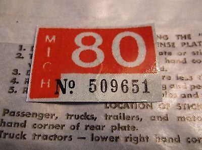 1980 Michigan License Plate Registration Tab Sticker New Old Stock