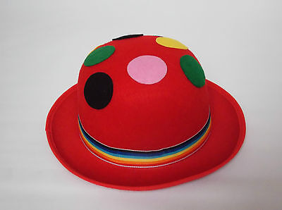 Red Spotted Clown Bowler Hat Fancy Dress Costume Circus Joker Showman Jester New