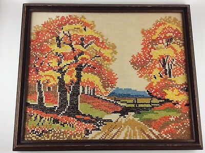 Fall Leaves Cross Stitch Decor Vintage Autumn Country Road Handmade & Framed