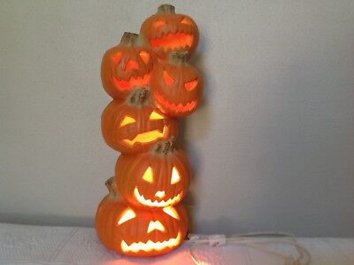 Vintage 1993 Trendmasters Jack-O-Lantern Lighted Foam Mold Pumpkin Totem Stack