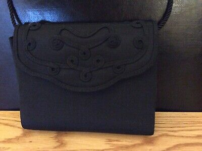 Next Evening Textile Handbag Black With  Embrodered  Detail Used Good Condition