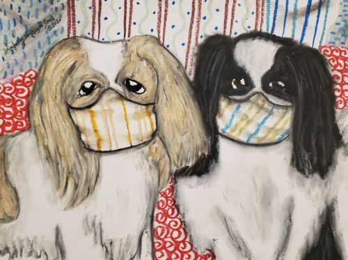 Japanese Chin Collectible 8x10 Art Print Signed by Artist KSams Quarantine Masks